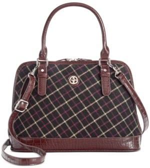Giani Bernini Plaid Croco Dome Satchel, Created For Macy's