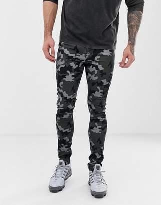Asos Design DESIGN super skinny jeans in camo print-Green