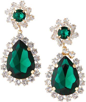 Natasha Accessories Limited Crystal Teardrop Earrings, Green