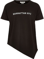 River Island Girls black asymmetric Manhattan NY t-shirt