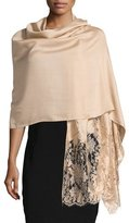 Valentino Modal-Blend Lace-Trim Shawl, Gold