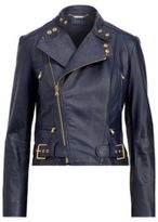 Ralph Lauren Leather Moto Jacket Blue Xs