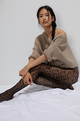 Hansel from Basel Cheetah Opaque Tights By in Black Size S/M