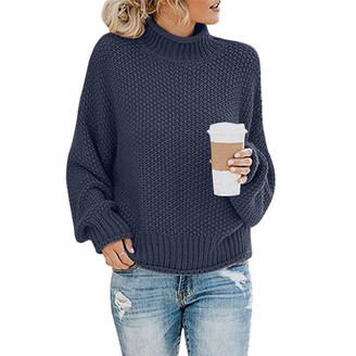 TOPEREUR Womens Turtleneck Jumper Long Sleeve Dropped Shoulders Casual Loose Pullover Solid Knitted Sweater with Ribbed Trims Navy