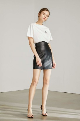 J.ING Gabe Black Side Zip Leather Mini Skirt