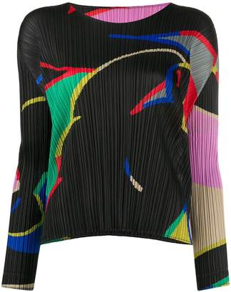Pleats Please Issey Miyake micro-pleated abstract top