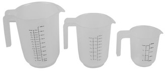 clear Online Precise Pour 3 Piece Plastic Measuring Cup Set with Short Easy Grip Handles,