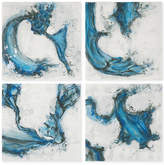 Uttermost Set of 4 Hand-Painted Abstract Blues Wall Art