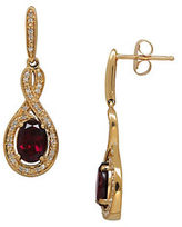 Lord & Taylor 4K Yellow Gold Garnet Diamond Accent Earrings