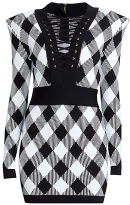 Balmain Lace-Up Gingham Jacquard Dress