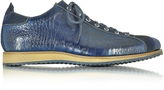 Forzieri Italian Handcrafted Indigo Blue Suede & Croco Print Leather Sneaker