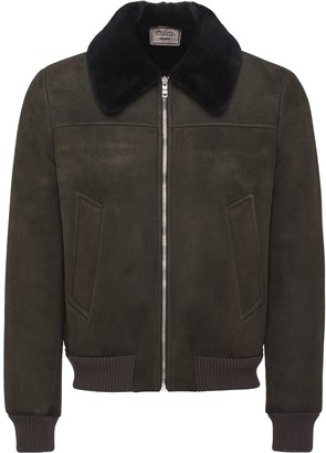 Prada Shearling Collar Suede Jacket