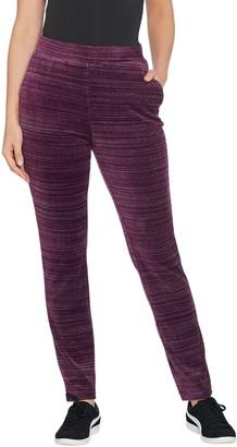 Denim & Co. Petite Space Dye Velour Straight Leg Pants