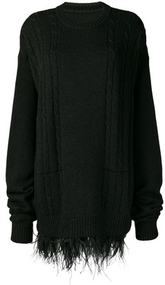 Maison Margiela Oversized Feather Trim Sweater