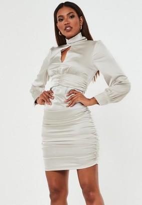 Missguided Champagne Satin High Neck Keyhole Mini Dress