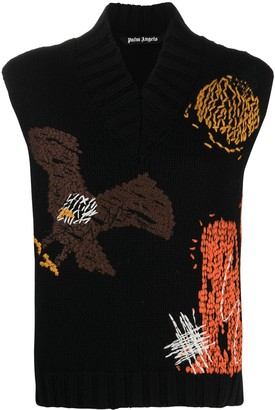Palm Angels Embroiderd Design Sleeveless Jumper