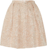 Rochas Swan pleated metallic brocade skirt