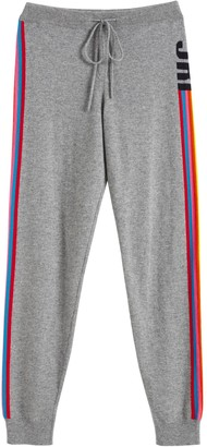 Chinti and Parker Grey Ski Stripe Wool-cashmere Track Pants