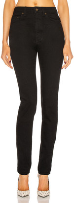 Saint Laurent High Waist Skinny Jean in Worn Black | FWRD