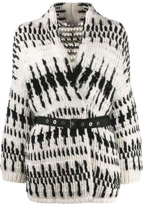 Brunello Cucinelli belted two-tone cardigan