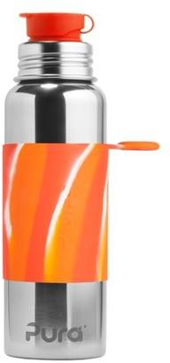 Pura 28 OZ / 850 ML Stainless Steel Water Bottle with Silicone Sport Flip Cap & Sleeve Orange Swirl(Plastic Free, Nontoxic Certified, BPA Free)