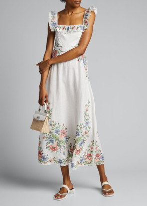 Zimmermann Juliette Floral-Trim Cross-Stitch Ruffle Dress