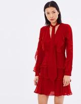 Nicholas Silk Georgette Tie Neck Ruffle Mini Dress