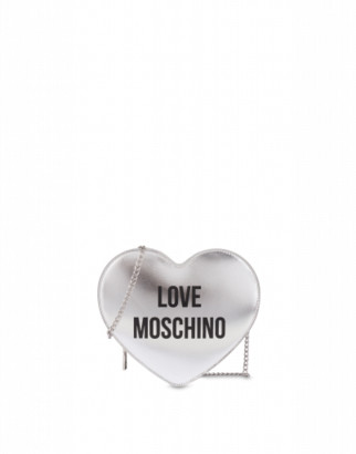 Love Moschino Laminated Shoulder Bag Heart Woman Silver Size U It - (one Size Us)