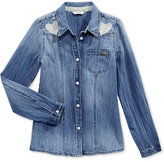 GUESS Button Front Denim Shirt, Big Girls (7-16)