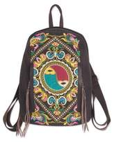 Colorful Embroidered Cotton Backpack with Yin and Yang, 'Yin-Yang Journey'