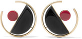 Marni Gold-plated Acrylic Earrings - Black