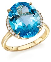 Bloomingdale's Blue Topaz Oval Ring with Diamonds in 14K Yellow Gold