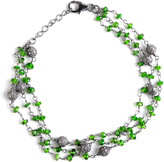 Ice 15 4/5 CT TW Chrome Diopside and Grey Diamond Sterling Silver Beaded Link Bracelet