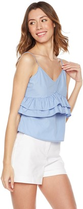 Plumberry Jouniors' Spaghetti Strap Sexy Ruflle Deep V Neck Camisole Croped Top Large Blue