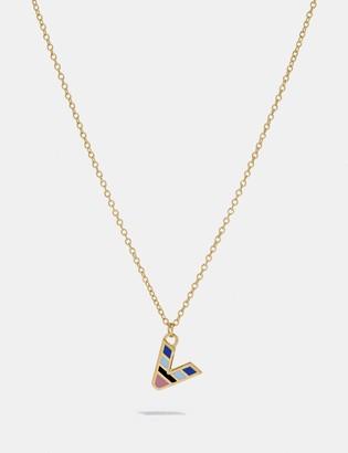 Coach 80'S Retro Alphabet V Charm Necklace
