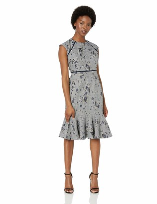 Maggy London Women's Petite Novelty Plaid Sheath with Cap Sleeve and Flounce Hem