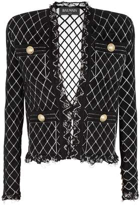 Balmain Black Diamond-jacquard Chenille Jacket