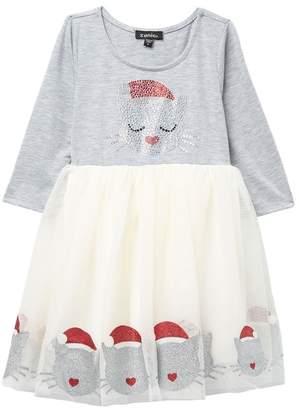 Zunie 3/4 Sleeve Embellished Bodice Kitty Print Dress (Little Girls)