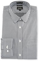 Neiman Marcus Trim-Fit Non-Iron Grid-Print Dress Shirt, Black