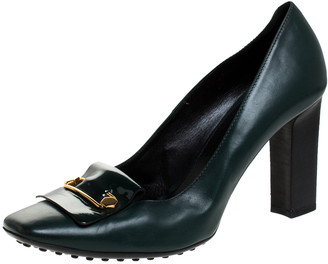 Tod's Green Leather Block Heel Square Toe Pumps Size 40