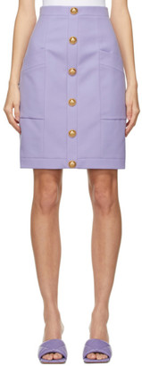 Balmain Purple Wool Buttoned Skirt