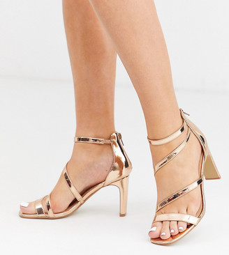 Simply Be Extra Wide Fit Simply Be extra wide fit Steph strappy heeled sandals in rose gold