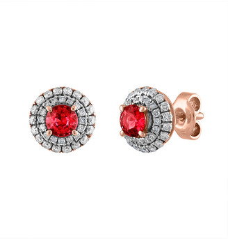 Heritage 18K Rose Gold 1.65 Ct. Tw. Diamond & Ruby Earrings