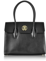 Roberto Cavalli Black Leather Double Handle Tote Bag