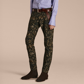 Burberry Slim Fit Floral Jacquard Jeans , Size: 35, Green