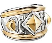 David Yurman Sterling Silver & 18K Yellow Gold Bold Renaissance Wide Ring