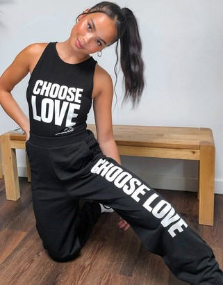 Help Refugees Choose Love jogger in organic cotton in black