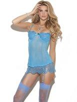Hot Spot Marvelous Sequined Underwire Mesh Chemise, Skirt, Adj. Straps, Adj. & Detachable Garters Lingerie Set