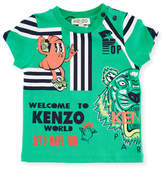 Kenzo Multi-Food Icon Tiger Striped T-Shirt, Green, Size 12-18 Months