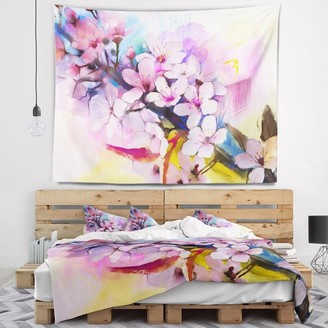 Design Art Designart 'Japanese Cherry Blossoms Watercolor' Floral Wall Tapestry
